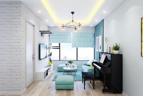 Kết hợp sàn gỗ sáng màu với nội thất màu xanh bạc hà